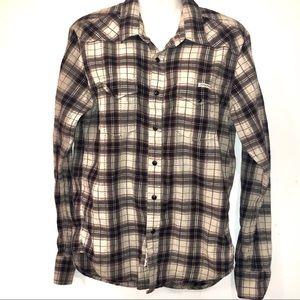 Lucky Brand Men Long Sleeve Shirt Western Snaps S